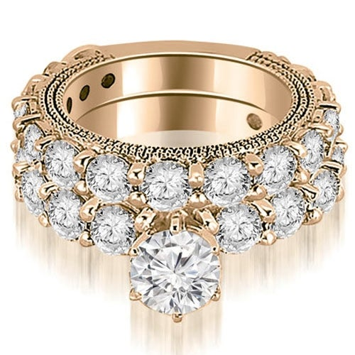 4.65 cttw. 14K Rose Gold Antique Round Cut Diamond Engagement Set