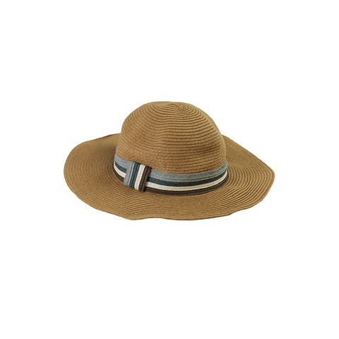 August Hat Tan Blue Stripe Band Floppy Hat OS