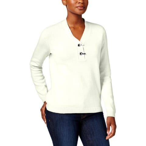 Karen Scott Womens Petites Pullover Sweater Grommet Ribbed Trim - PXL