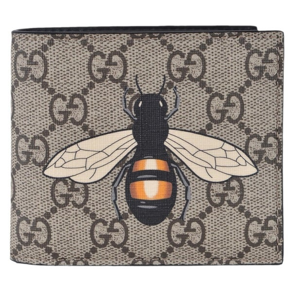 c70dab9fbb06 Gucci Men's Beige GG Supreme Canvas Large Bee Logo Bifold Wallet -