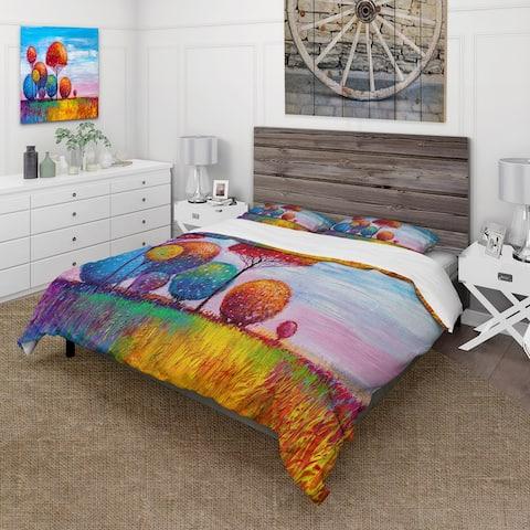 Designart 'Colourful Ornamental Trees IX' Modern Duvet Cover Comforter Set
