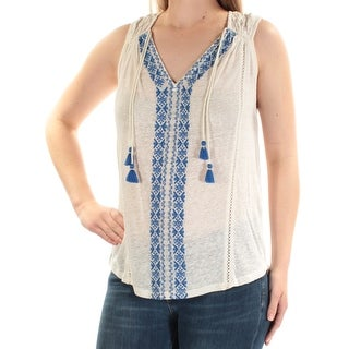 Womens Ivory Sleeveless V Neck Casual Top Size M