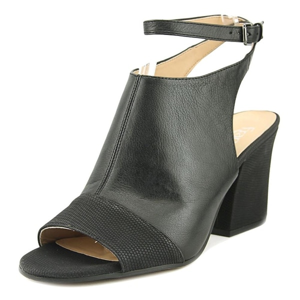 Franco Sarto Franchesca Women Open Toe Leather Black Sandals