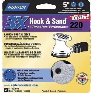 """Norton 03227 Hook and Loop Sanding Disc, 5"""" Dia., 220 Grit"""