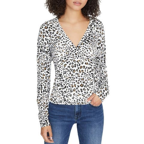 Sactuary Womens XOXO Pullover Sweater Animal Print Faux Wrap - Leopard
