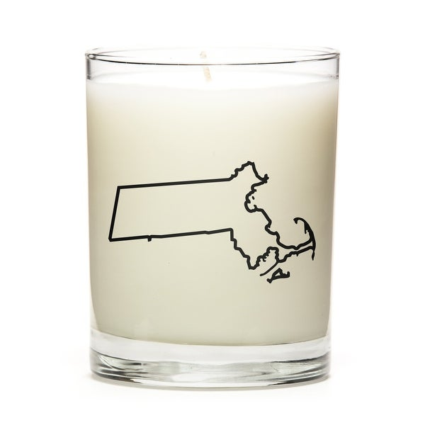 State Outline Soy Wax Candle, Massachusets State, Peach Belini