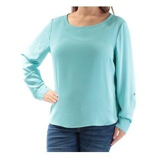 NINE WEST $69 Womens 1110 Blue Cuffed Jewel Neck Casual Top XL B+B
