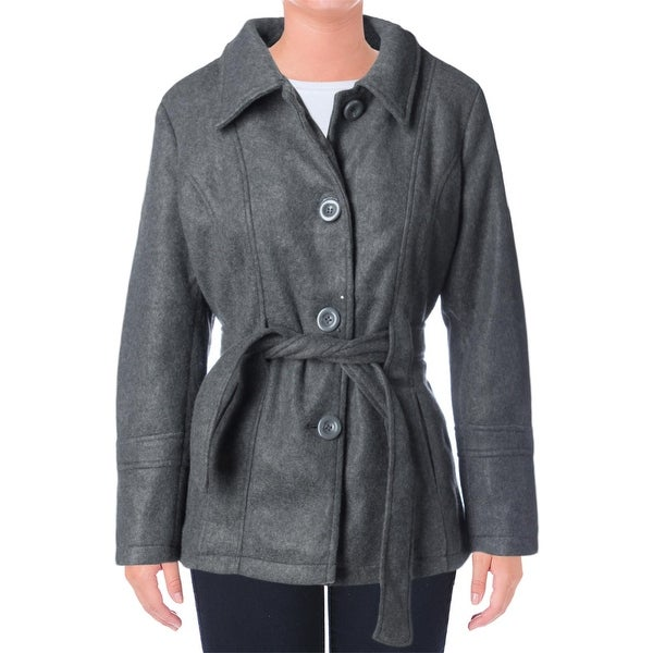 YMI Womens Juniors Pea Coat Faux Wool Single Breasted