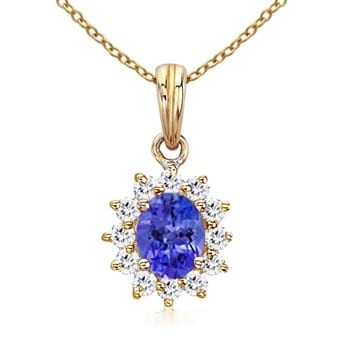 Angara Sapphire and Diamond Halo Necklace in Yellow Gold IfmRuaG3