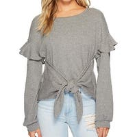 1. State Gray Womens Size Medium M Tie Front Longsleeve Knit Top