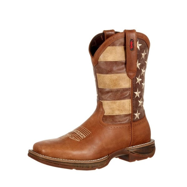 Durango Western Boots Mens Faded USA Flag Square Toe Brown