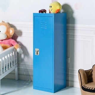 Costway 48'' Kid Locker Safe Storage Children Single Tier Metal Lockers Lock And Key Blue
