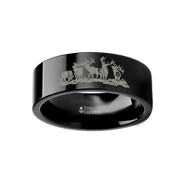 THORSTEN - Animal Landscape Scene Five Deer Stag Hunting Ring Engraved Flat Black Tungsten Ring - 10mm