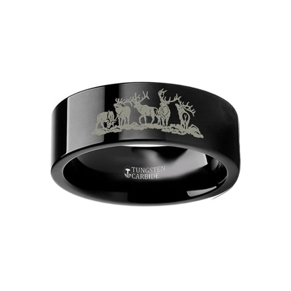 THORSTEN - Animal Landscape Scene Five Deer Stag Hunting Ring Engraved Flat Black Tungsten Ring - 6mm