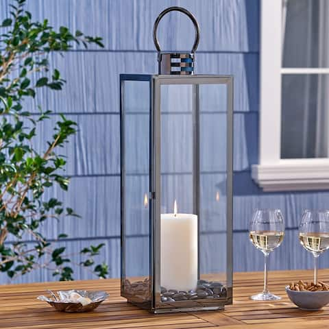 """Hawkeye 24"""" Stainlesss Steel Lantern by Christopher Knight Home"""