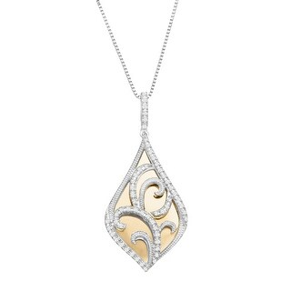 1/4 ct Diamond Filigree Overlay Pendant in Sterling Silver & 10K Gold