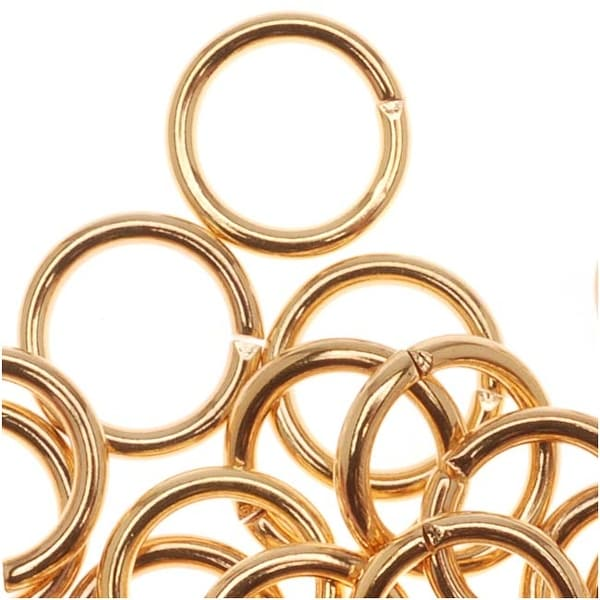 22K Gold Plated Open Jump Rings 7mm 18 Gauge (50)