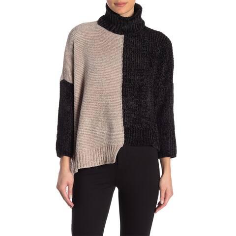 Romeo & Juliet Couture Women's Black Tan Medium M Turtleneck Sweater1.
