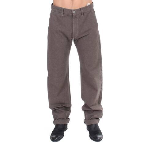 GF Ferre Brown Cotton Regular Fit Casual Men's Pants - it48-m