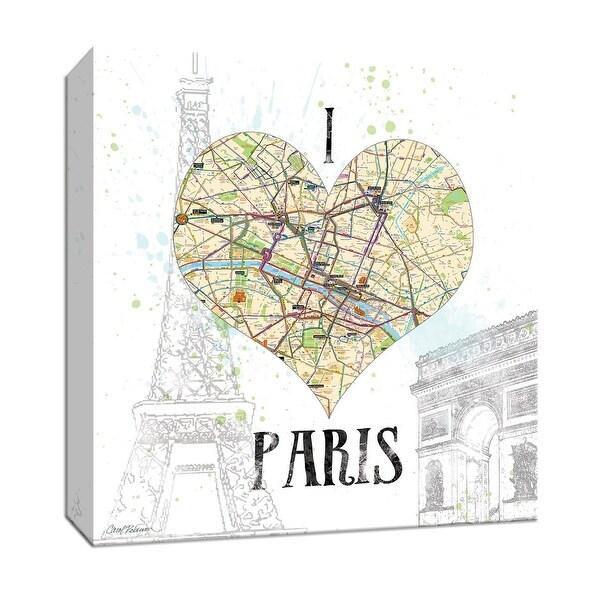"""PTM Images 9-147262 PTM Canvas Collection 12"""" x 12"""" - """"I Love Paris Map"""" Giclee Paris Art Print on Canvas"""