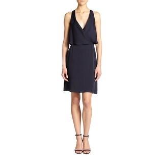 Theory Osteen Silk Surplice Dress Navy Blue 10