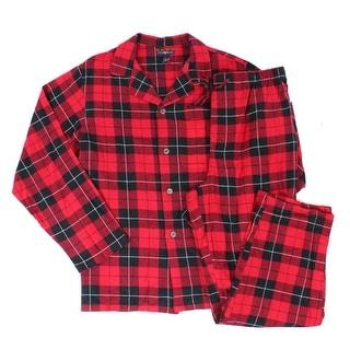 Club Room NEW Red Mens Size Large L Pajama Sets Plaid Flannel Sleepwear