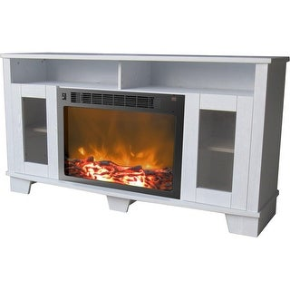 Cambridge Savona CAM6022-1WHT Fireplace Mantel with Electronic Fireplace Insert, White