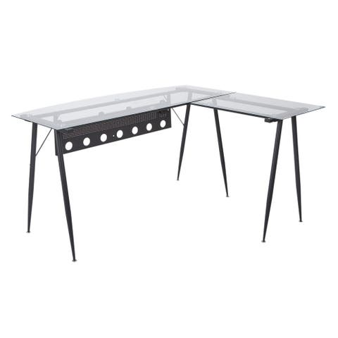 Trento Desk with Glass Top and Black Base