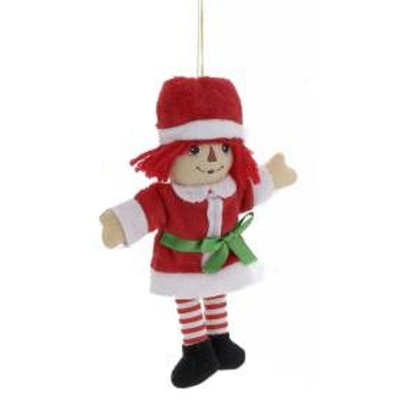 "7.5"" Raggedy Ann in Elf Costume Miniature Plush Christmas Ornament - RED"