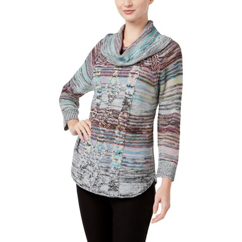 John Paul Richard Womens Shawl-Collar Sweater Cable Knit Marled