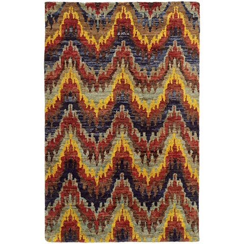 Tommy Bahama Ansley Ikat Chevron Red/ Gold Area Rug