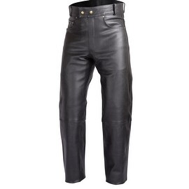 Mens Heavy Duty Motorcycle Black Leather Pants Jeans Style Five Pockets PT6