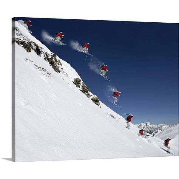 """""""Sequence of male skier jumping down steep slope"""" Canvas Wall Art"""