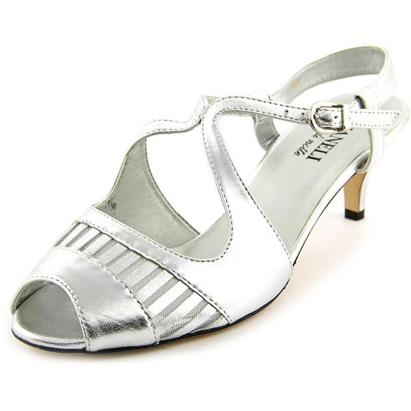 Vaneli Ulva Women Open Toe Leather Silver Sandals