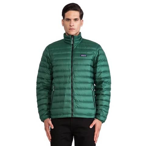 Patagonia Mens Green Sweater Jacket Down Quilted Outerwear Coat