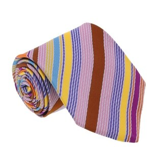Missoni U3264 Orange/brown/pink/blue Regimental 100% Silk Tie - 60-3