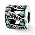 Sterling Silver Reflections Marcasite & Turquoise Bead (4mm Diameter Hole) - Thumbnail 0
