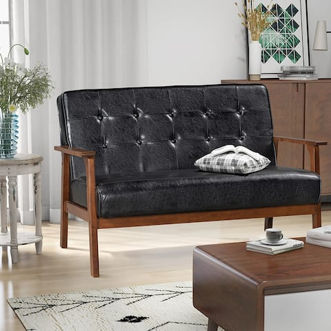 Modern Solid Loveseat Sofa Upholstered PU Leather 2-Seat Couch