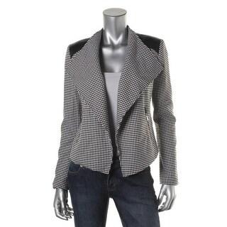 Calvin Klein Womens Faux Trim Houndstooth Crop Blazer - L