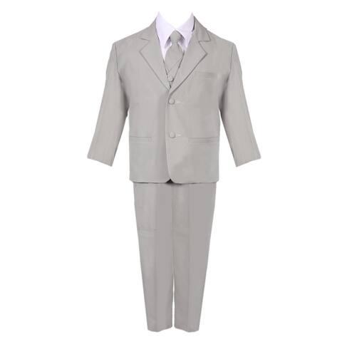 Boys Silver 5 Piece Classic Vest Jacket Pants Special Occasion Suit