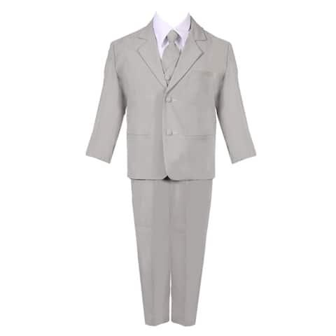 Little Boys Silver 5 Piece Classic Vest Jacket Pants Special Occasion Suit