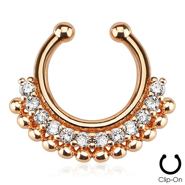 Paved Gem Fan Rose Gold IP Non-Piercing Fake Septum Ring (Sold Individually)