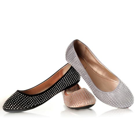 Sweetie's Shoes Silver Studded Sally Special Occasion Flats