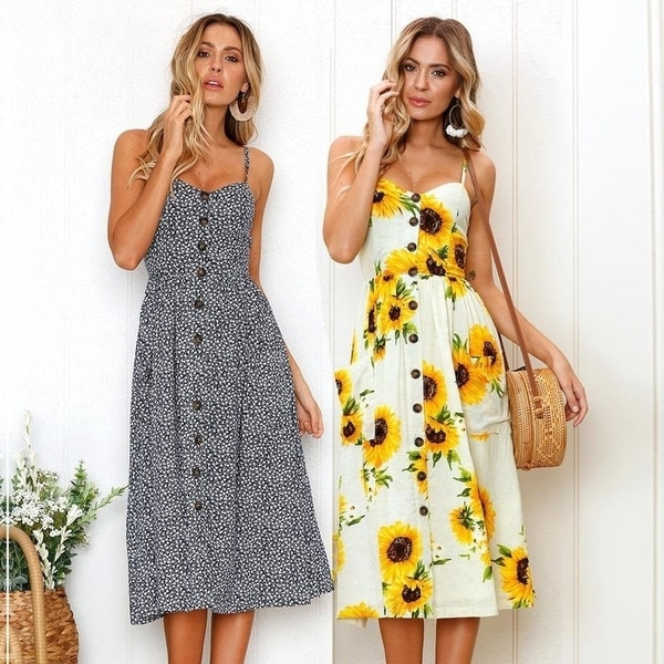 bc88caad83afd Strap V Neck Summer Dress Women Sunflower Print Backless Party Dress Casual  Vestidos High Waist Midi