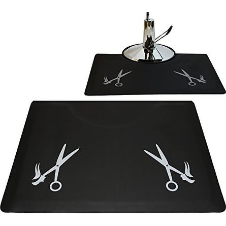 LCL Beauty 1/2-inch Thick 48 x 36-inch Anti-Fatigue Salon Floor Mat with Grey Scissor Design