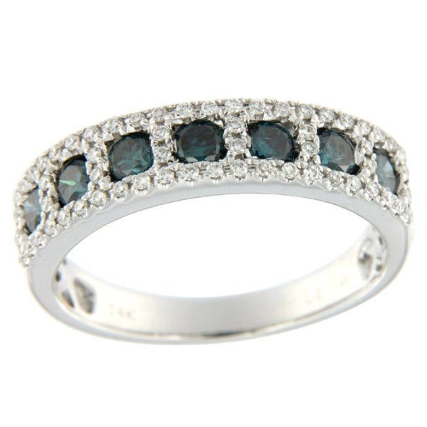 Fabulous 0.93 Carat Round Brilliant Cut Blue Color Natural Diamond with Natural Diamond Wedding Band - White G-H