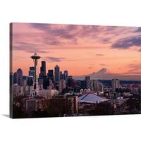 Premium Thick-Wrap Canvas entitled Sunset view of downtown Seattle and Mount Rainier in distance - Multi-color