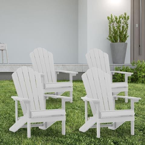 Bonosuki 4-Piece sets Plastic Adirondack Chairs Allweather Resistant