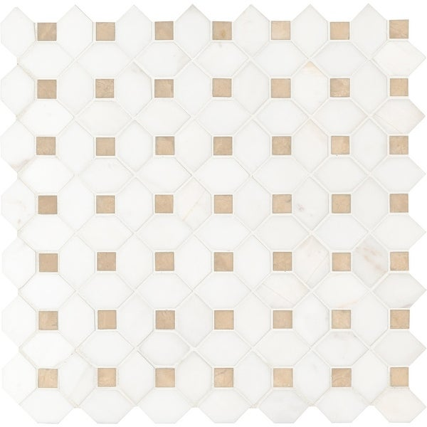 "MSI SMOT-DOL-CEMDOTP Bianco Dolomite - 12-3/8"" x 12-3/8"" Dot-Mounted Mosaic Sheet - Polished Marble Visual - Sold by Carton"
