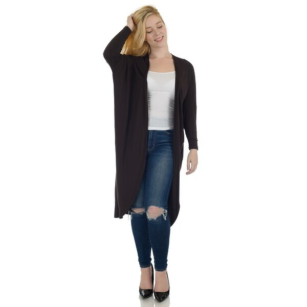 Simply Ravishing Dolman Long Sleeve Full Length Open Cardigan (Size: S-5X). Opens flyout.